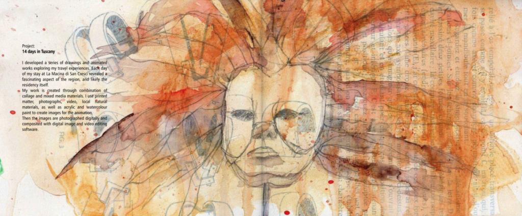 Mask, sketchbook drawing by Uma Viswanathan